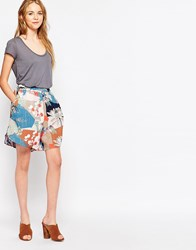 Vila Mixed Print Short Peach Blush
