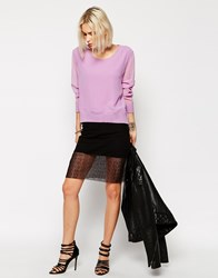 Religion Mini Skirt With Mesh Overlay Black