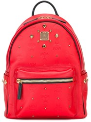 Mcm Lightly Studded Logo Backpack Red