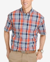 Izod Men's Plaid Short Sleeve Shirt Burnt Ochre