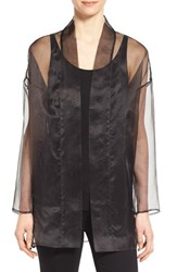Women's Eileen Fisher Long Silk Organza Kimono Jacket Black
