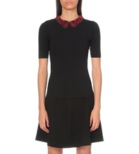 Sandro Elmer Embroidered Collar Knitted Top Noir
