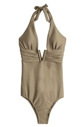 Heidi Klein Manda Island V Bar One Piece Green