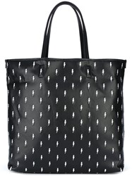 Neil Barrett Embroidered Lightning Bolt Tote Black