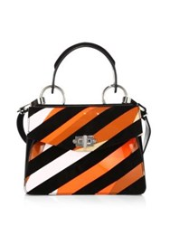 Proenza Schouler Small Hava Patent Leather And Suede Top Handle Satchel Black Multi