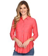 Calvin Klein Jeans Airflow Utility Shirt Watermelon Sorbet Women's Clothing Red