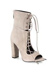 Kendall Kylie Ella Suede Lace Up Block Heel Booties Dark Modern Beige Black