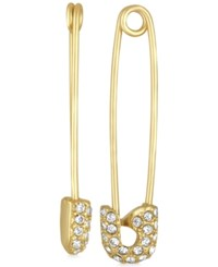 Rachel Roy Gold Tone Pave Safety Pin Drop Earrings