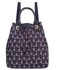 Tommy Hilfiger Adrianna Canvas Backpack Navy Red
