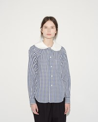 Comme Des Garcons Gingham Shirt Navy White