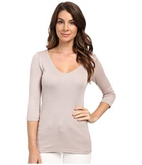 Michael Stars Shine 3 4 Sleeve Double Front V Neck Chai Women's Long Sleeve Pullover Brown