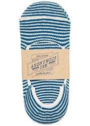 Anonymous Ism Teal Striped Cotton Blend Socks Blue And White