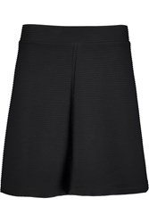 Vince Ribbed Cotton Blend Mini Skirt Black