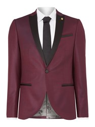 Noose And Monkey Men's Skinny Peak Lapel Tuxedo Jacket Burgundy