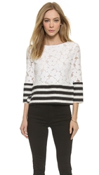 English Factory Striped Lace Popover Blouse White Black