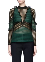 Self Portrait 'Forest' Ruffle Fishnet Effect Mesh Top Green
