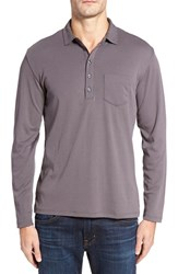 Robert Barakett Men's Calgary Long Sleeve Polo Graphite