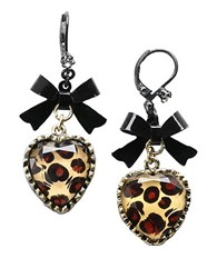Betsey Johnson Leopard Print Heart And Bow Drop Earrings Black