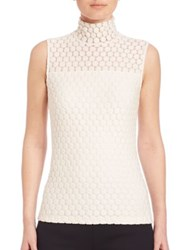 Akris Punto Sleeveless Lace Embroidered Turtleneck Top Cream