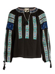 Sea Folk Embroidered Cotton Blouse Black