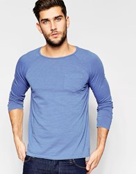 United Colors Of Benetton Long Sleeve Top With Front Pocket Blue