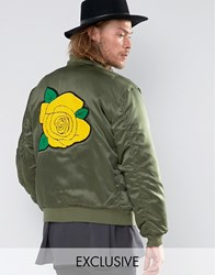 Reclaimed Vintage Satin Ma1 Bomber Jacket With Rose Back Patch Khaki Green