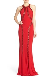 Women's Faviana Sequin Racerback Jersey Gown Red