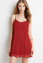 Forever 21 Crinkled Chiffon Cami Dress Rust