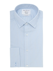 T.M.Lewin Gingham Fitted Long Sleeve Formal Shirt Blue