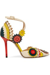 Charlotte Olympia Mechanix Studded Leather Pumps White Yellow
