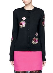 Givenchy Floral Embroidered Wool Cardigan Black