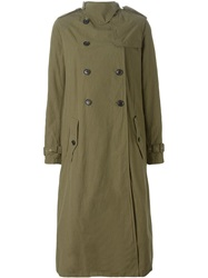 Kolor Long Trench Coat Green