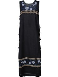Suno Embroidered Tunic Dress Black