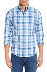 Men's Gant Trim Fit Madras Plaid Sport Shirt Palace Blue