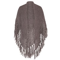Chesca Wool Blend Large Fringed Shawl With Crocheted Panel Taupe