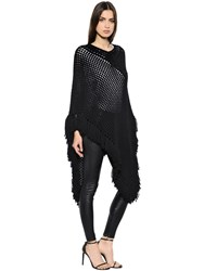 Saint Laurent Wool Crochet Poncho W Fringe Trim