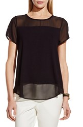 Women's Vince Camuto Chiffon Yoke Short Sleeve Top