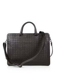 Bottega Veneta Woven Leather Briefcase Dark Brown Dark Grey