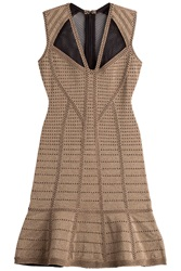 Herve Leger Herve Leger Metallic Bandage Dress With Mesh Inserts Gold