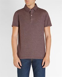 Tommy Hilfiger Burgundy Oxford Jersey Trim Polo Shirt