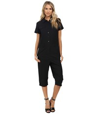 Marc By Marc Jacobs Summer Cotton Cropped Jumpsuit Black Women's Jumpsuit And Rompers One Piece
