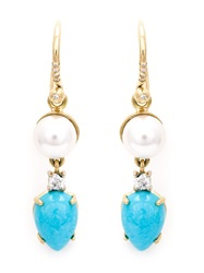 Irene Neuwirth Turquoise And Pearl Drop Earrings White