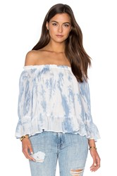 Maven West Off Shoulder Ruffle Top Blue