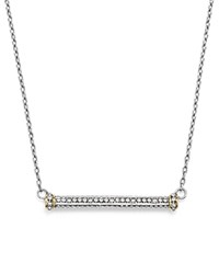 Judith Ripka 18K Yellow Gold And Sterling Silver East West Bar Pendant Necklace With Diamonds 17 Blue Silver