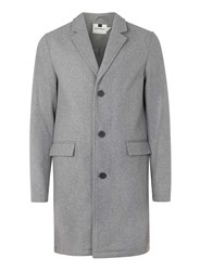Topman Grey Wool Rich Overcoat