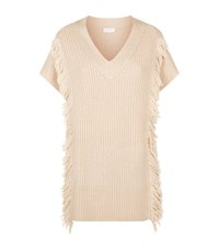 Escada Sport Chunky Knit Fringe Sweater Female Beige