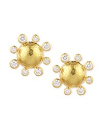 Diamond Detailed 19K Gold Dome Earrings Elizabeth Locke