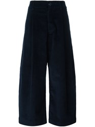 Studio Nicholson Wide Leg Cropped Trousers Blue