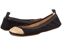 Yosi Samra Sybil Kid Suede Fold Up Flat With Burnished Croco Captoe Black Latte Women's Flat Shoes