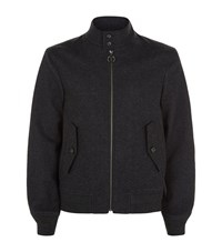 Z Zegna Felted Wool Bomber Jacket Male Dark Grey